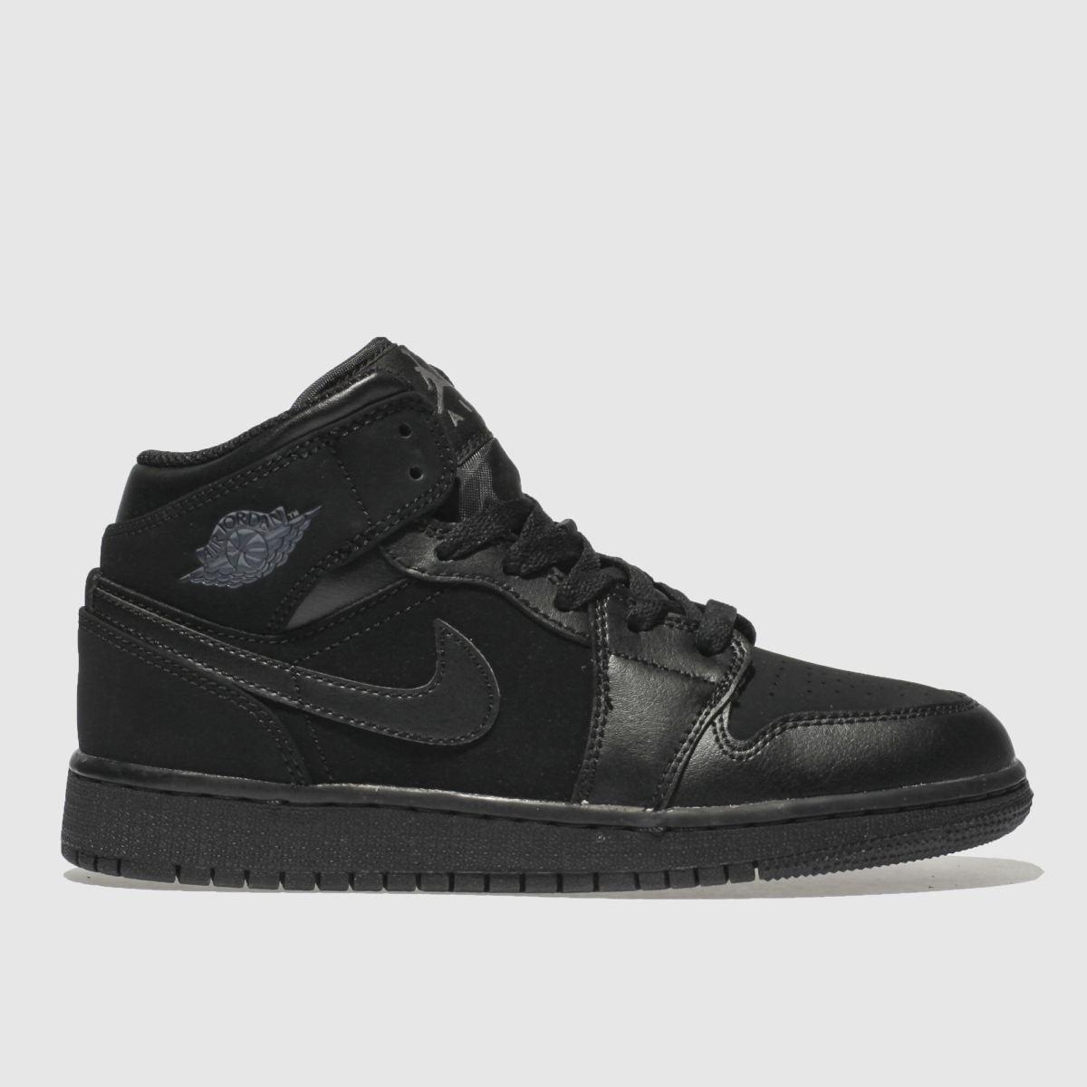 Nike Jordan Black & Grey 1 Mid Trainers Youth