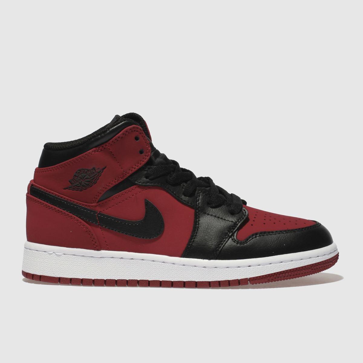 Nike Jordan Black & Red Jordan 1 Mid Youth Trainers