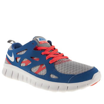Unisex Nike Grey & Navy Free Run 2-0 Unisex Youth