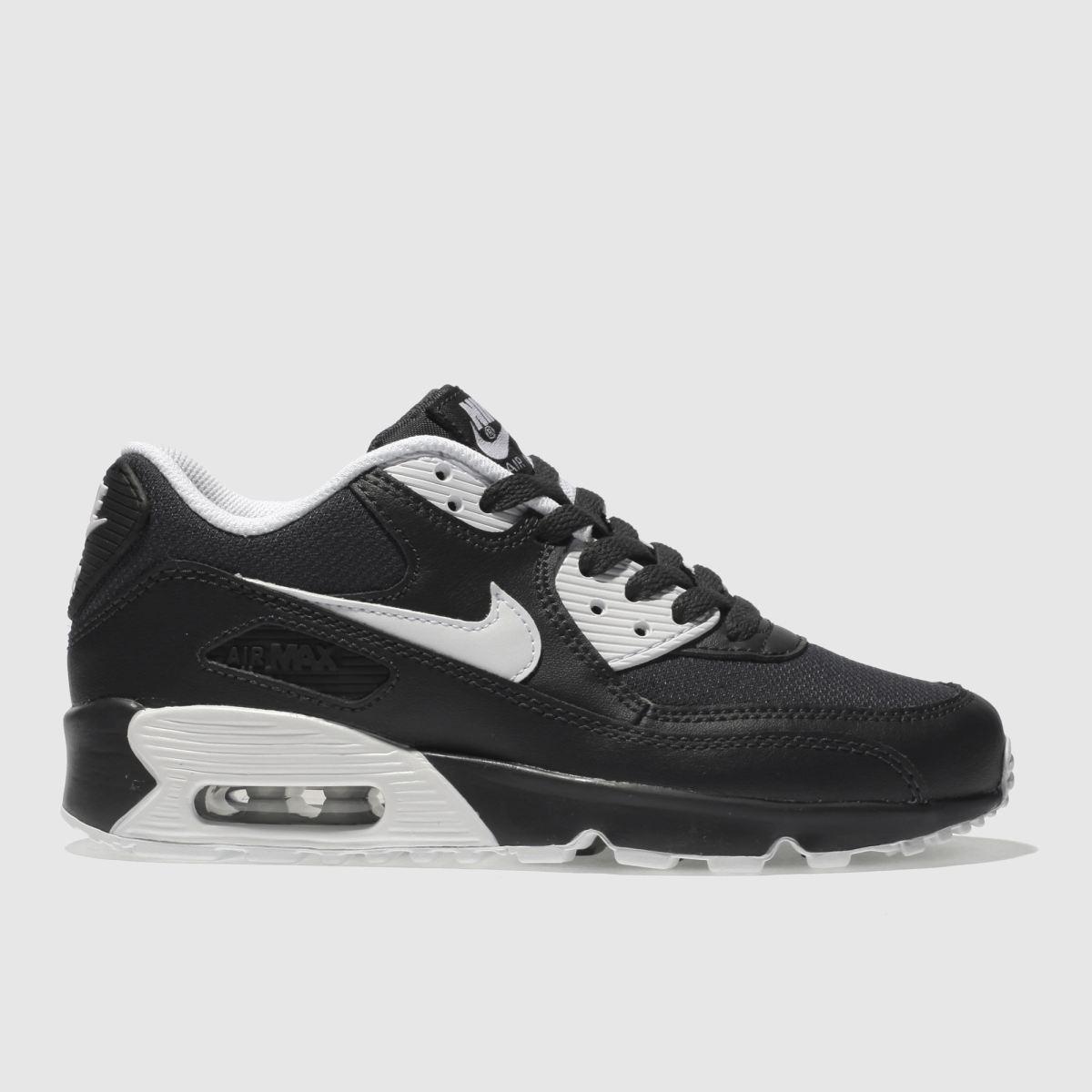 Nike Black & Grey Air Max 90 Mesh Youth Trainers