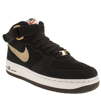 kids nike black & gold air force 1 mid trainers