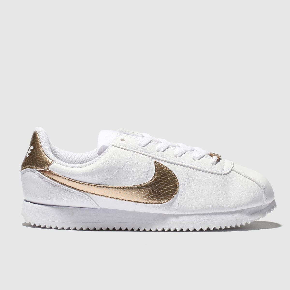Nike White & Gold Cortex Basic Trainers Youth