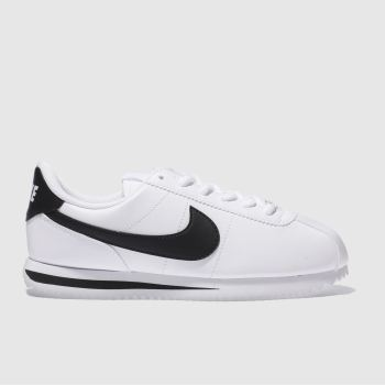 Nike White & Black CORTEZ BASIC Unisex Youth