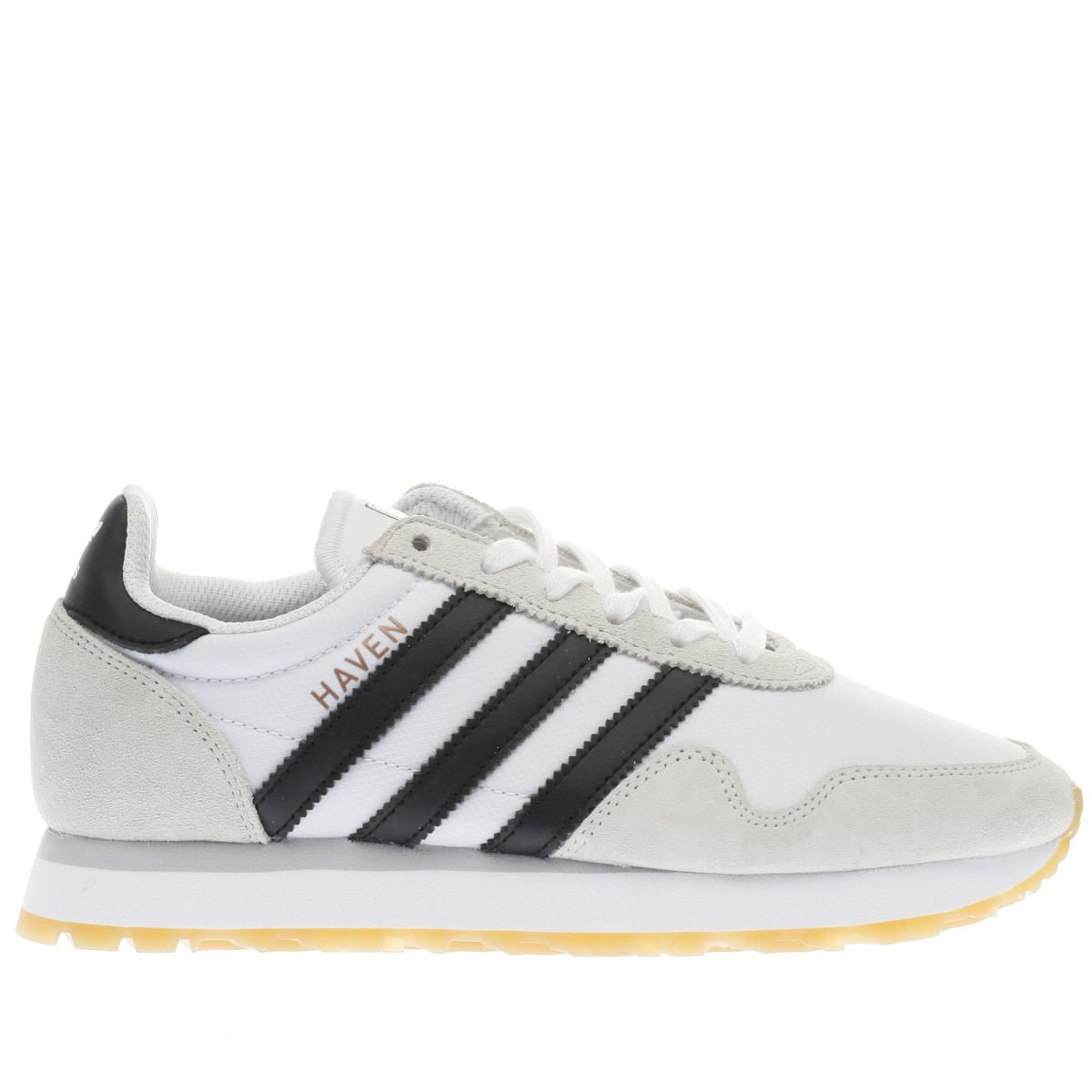 adidas white & black haven Youth Trainers