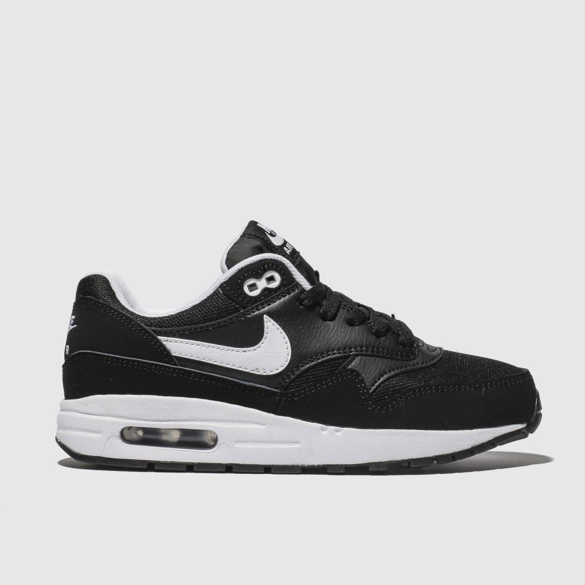 Nike Black & White Air Max 1 Trainers Youth