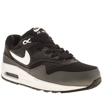 kids nike black & white air max 1 trainers
