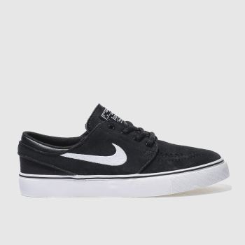 kids nike sb black & white stefan janoski trainers
