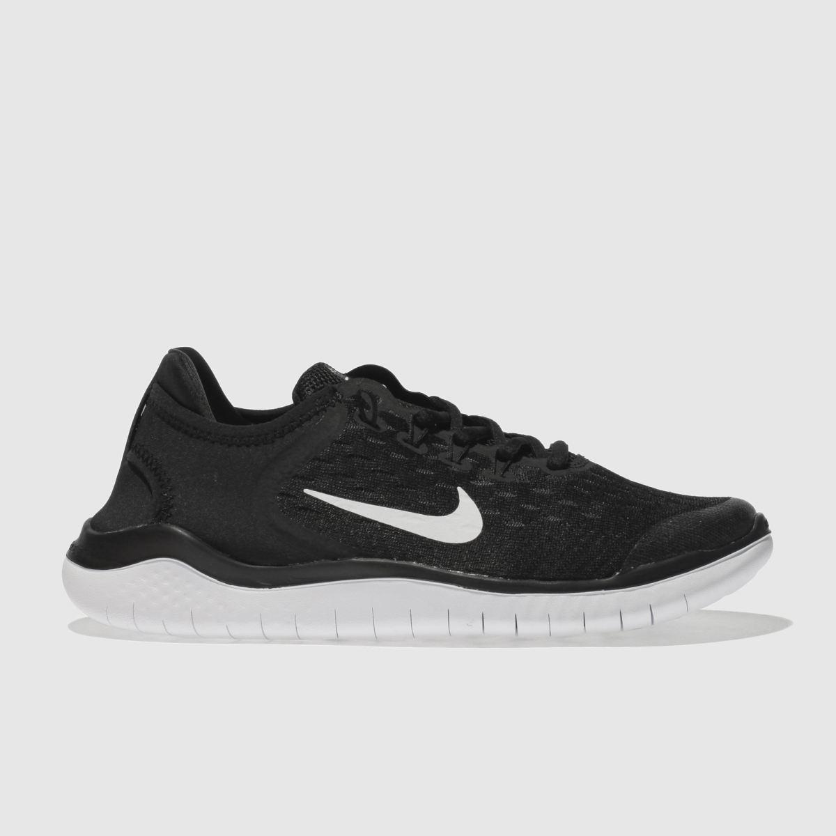 Nike Black & White Free Rn 2018 Youth Trainers