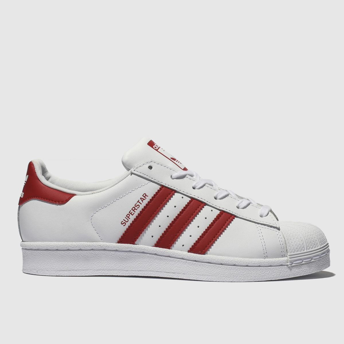 Adidas White & Red Superstar Trainers Youth
