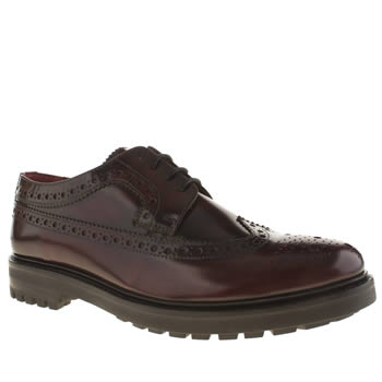 Base London Burgundy Industrial Wing Brogue Shoes