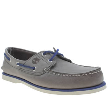 Mens Timberland Grey & Navy Classic Boat Shoes