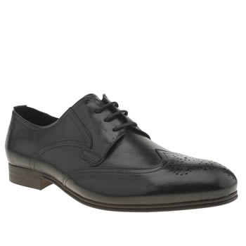 Mens H By Hudson Black Vermont Wing Cap Gibson Shoes