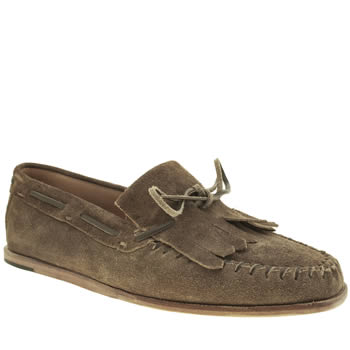 Mens H By Hudson Tan Rio Fringe Loafer Shoes