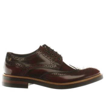 Mens Base London Burgundy Manor Brogue Shoes