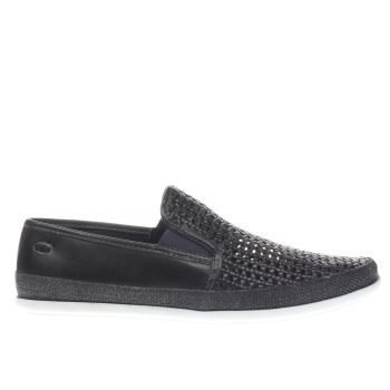 Base London Navy Festival Weave Slip Shoes