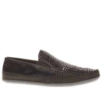 Base London Dark Brown Festival Weave Slip Shoes