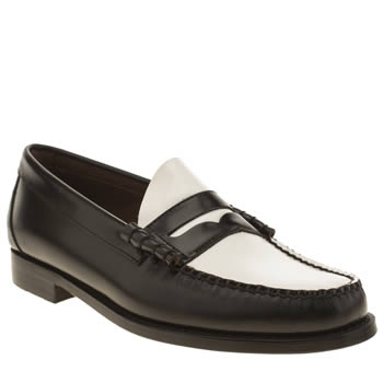 Mens Bass Black & White Larson Moc Penny Shoes