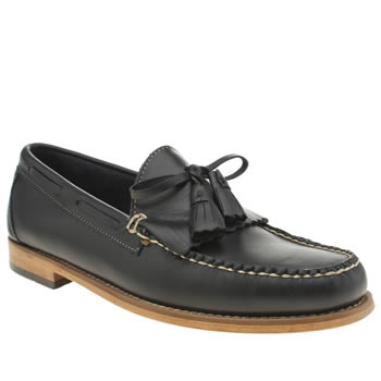 Mens Bass Navy Layton Pull Up Kiltie Shoes