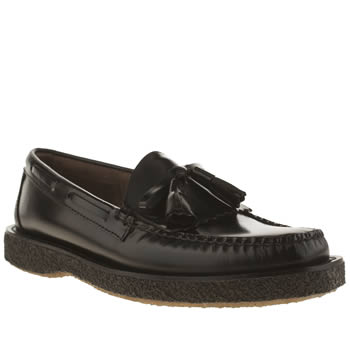 Mens Bass Black Crepe Layton Moc Kiltie Shoes