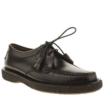 Mens Bass Black Crepe Tie Shoes