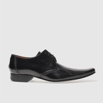 Mens Jeffery West Black Square Punch Gibson Shoes