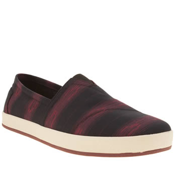 Toms Black & Red Cultural Stripe Avalon Slip On Mens Shoes