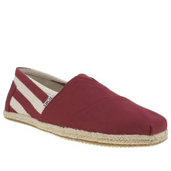 Mens Toms Red University Classic Stripe Shoes