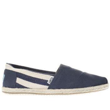 Mens Toms Navy & White University Classic Stripe Shoes