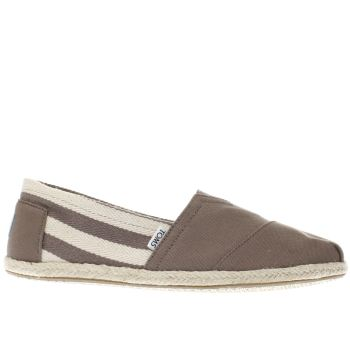Toms Grey University Classic Stripe Mens Shoes