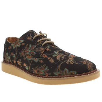 Mens Toms Black & Gold Brogue Floral Paisley Shoes