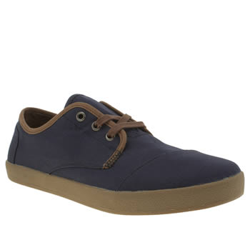 Mens Toms Navy Paseo Twill Shoes