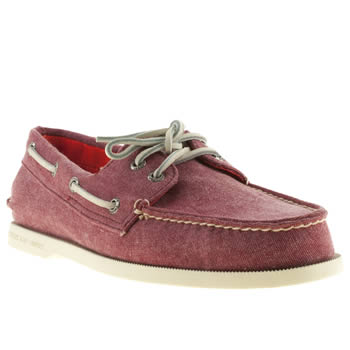 mens sperry red a/o stonewash shoes