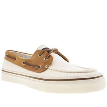 mens sperry white & brown bahama 2-eye canvas shoes