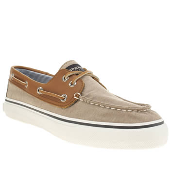 Sperry Beige & Brown Bahama 2 Eye Chambray Shoes