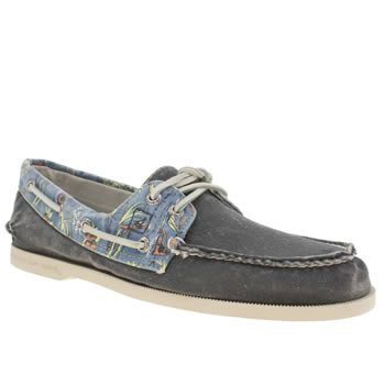 Sperry Navy A/o 2-eye Tropic Print Shoes