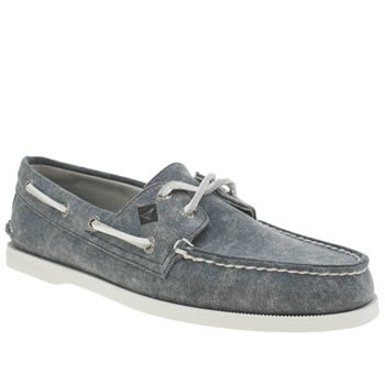 Mens Sperry Navy A/o 2 Eye White Cap Shoes