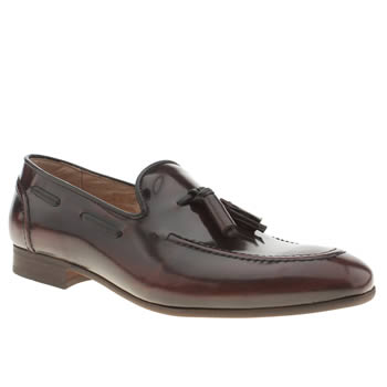 H By Hudson Burgundy Rene Tassel Loafer Shoes