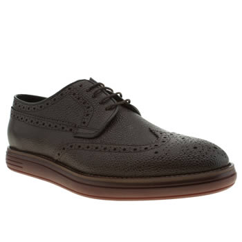 Mens H By Hudson Dark Brown Higgs Grain Shoes