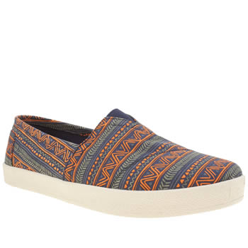 Toms Navy & Orange Avalon Slip-on Shoes