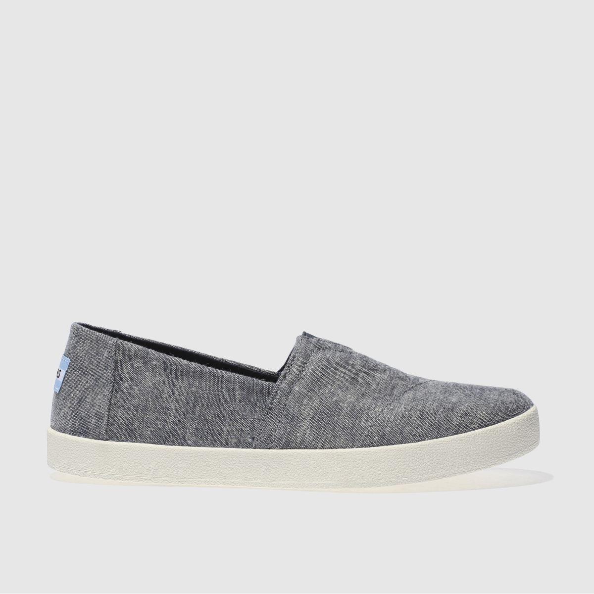 toms navy & white avalon slip-on shoes