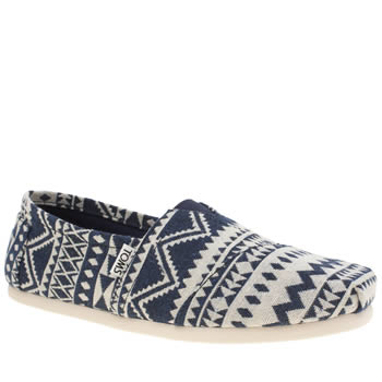 Toms White & Blue Seasonal Classic Shoes