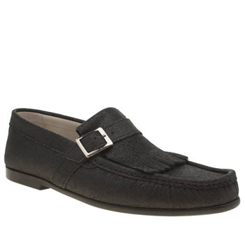 Momentum Black Rinse Fringe Loafer Shoes