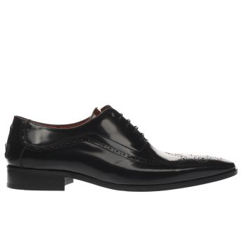 Jeffery West Black Escobar Wing Punch Oxford Mens Shoes