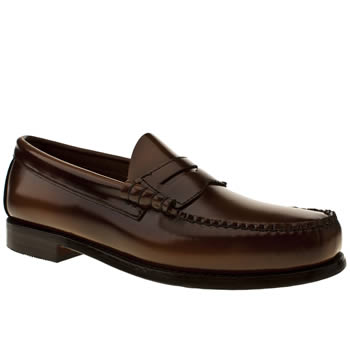 mens bass tan larson penny loafer shoes