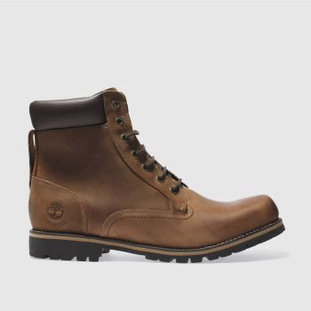 Mens Timberland Dark Brown 6 Inch Rugged Brown Boots