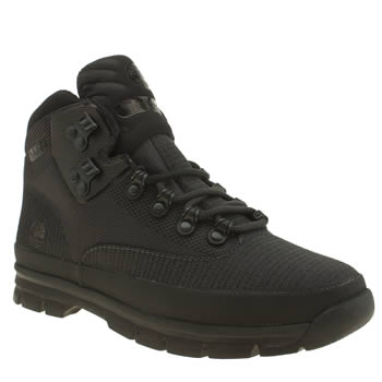 Timberland Black Euro Hiker Mid Jacquard Boots
