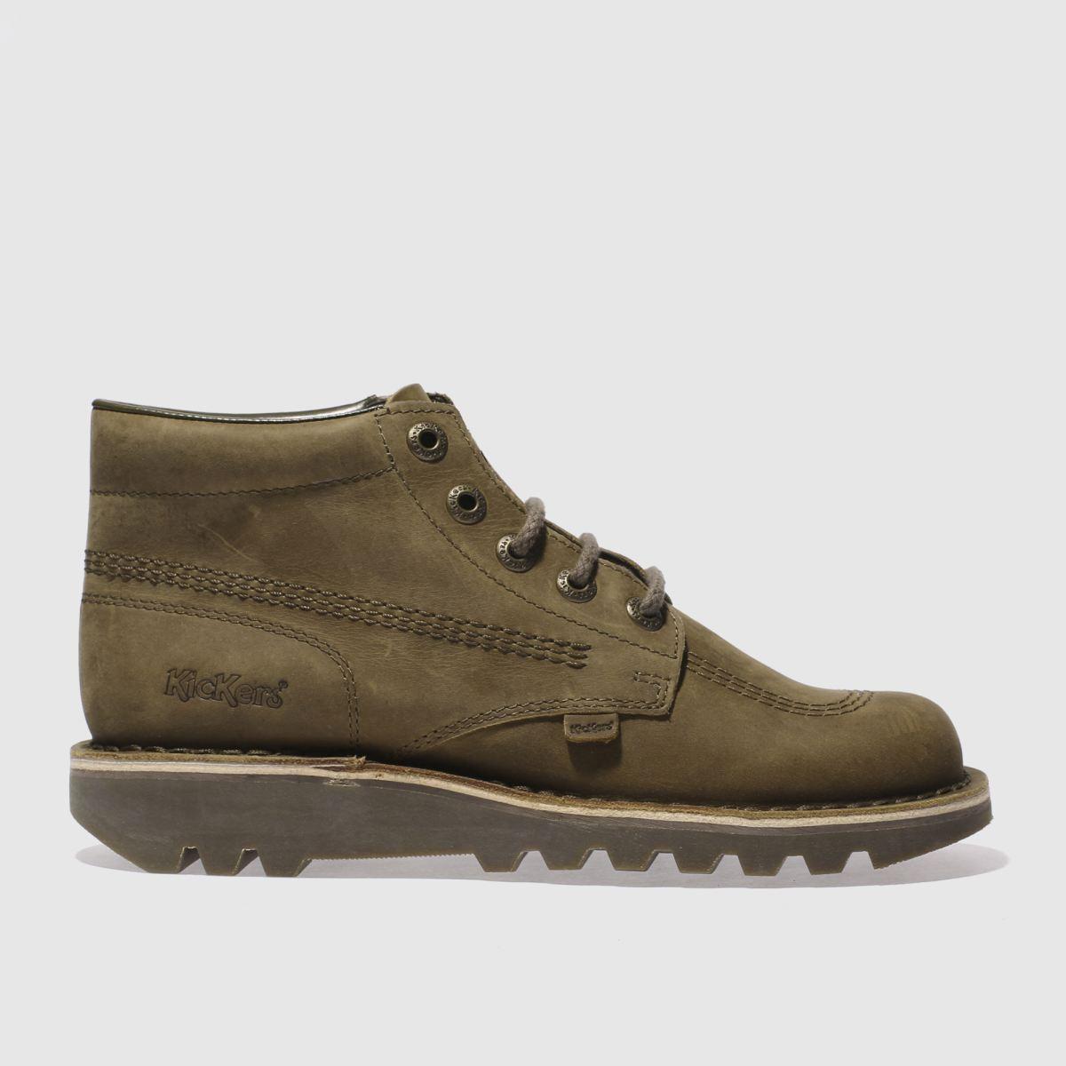 kickers khaki kick hi boots