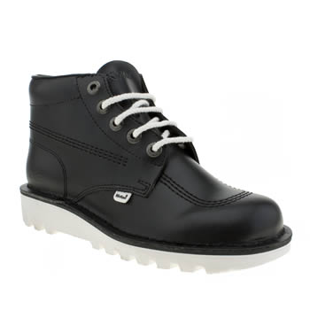 Mens Kickers Black & White Kick Hi Boots