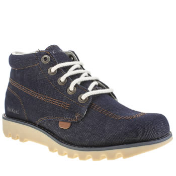 Kickers Navy Kick Hi Denim 40th Anniversary Boots