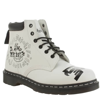 Dr Martens White & Black Padded Collar 6-eye Boots